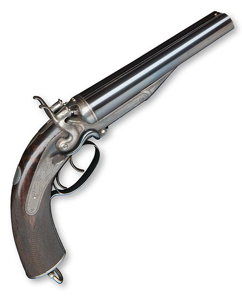 WILKINSON, LONDON A FINE .577 (SNIDER) DOUBLE-BARRELLED HAMMER HOWDAH-PISTOL, serial no. 528,
