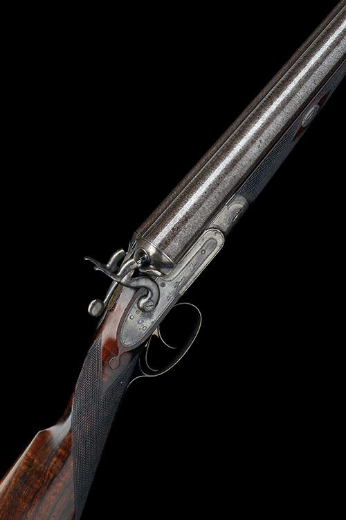 W. & C. SCOTT & SON AN EARLY 10-BORE (2 7/8IN.) 1865 PATENT TOPLEVER DOUBLE-BARRELLED HAMMERGUN, serial no. 385,