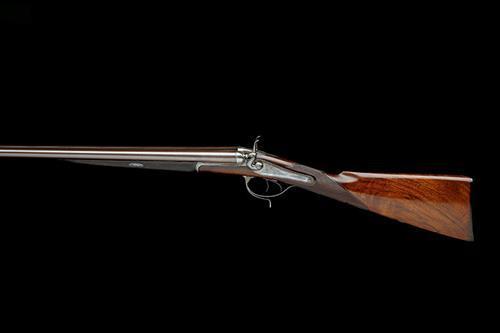 WIGGAN & ELLIOTT A RARE 28-BORE HENRY ELLIOTT 1863 PATENT PUSH-FORWARD UNDERLEVER BAR-IN-WOOD HAMMERGUN, serial no. 3170,