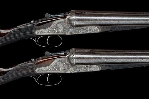CHARLES LANCASTER A MATCHED PAIR OF 12-BORE ASSISTED-OPENING BACK-ACTION SIDELOCK EJECTORS, serial no. 12110 / 12125,