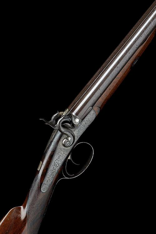 AN UNUSUAL 12-BORE PERCUSSION DOUBLE-BARRELLED SPORTING GUN, UNSIGNED, no visible serial number,