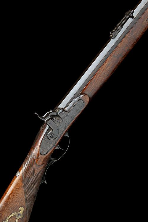 J. BROOK, HASTINGS A SCARCE 36-BORE PERCUSSION SPORTING-RIFLE, MODEL ''KENTUCKY TYPE'', no visible serial number,