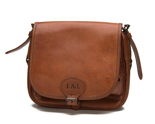 CONWAY A LEATHER SUEDE-LINED CARTRIDGE BAG,