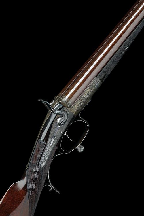 GEORGE SMITH A 20-BORE (SMOOTHBORED) ROTARY-UNDERLEVER DOUBLE HAMMER RIFLE, serial no. 459,