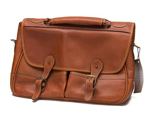 TUSTING AN UNUSED MEN''S TAN LEATHER CLIPPER SATCHEL,