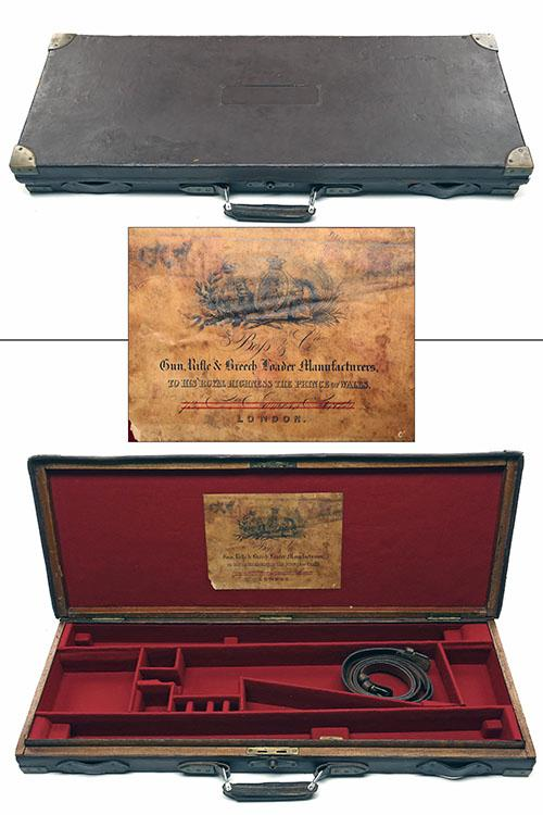 JAMES PURDEY & SONS A BRASS-CORNERED OAK AND LEATHER DOUBLE GUNCASE WITH PROVISION FOR EXTRA SET OF BARRELS,