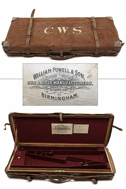 WILLIAM POWELL & SON A BRASS-BOUND OAK AND LEATHER DOUBLE GUNCASE,