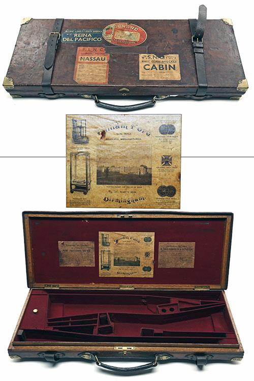 WILLIAM FORD A BRASS-CORNERED OAK AND LEATHER DOUBLE GUNCASE,