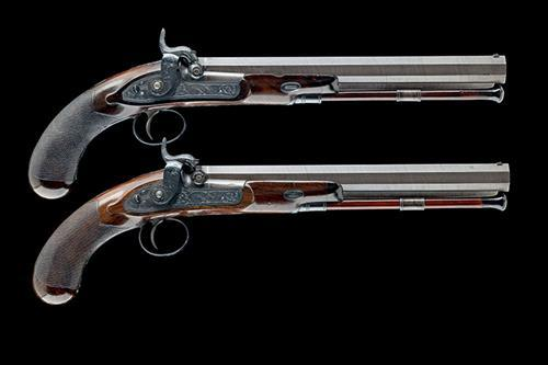 SAMUEL NOCK, LONDON A GOOD CASED PAIR OF .450 PERCUSSION DUELLING-PISTOLS, serial no''s 6945,