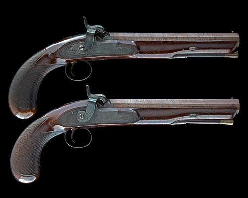 MORTIMER, LONDON AN EARLY CASED PAIR OF 36-BORE PERCUSSION OFFICERS HOLSTER-PISTOLS, no visible serial numbers,