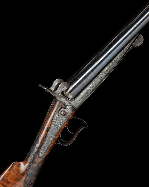 SAUERBREY, BASEL A 16-BORE PINFIRE DOUBLE-BARRELLED SPORTING GUN, MODEL ''LEFAUCHEUX PATENT'', no visible serial number,