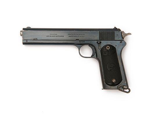 COLT, USA A FINE .38 (RIMLESS-SMOKELESS) SEMI-AUTOMATIC PISTOL, MODEL ''1902 MILITARY'', serial no. 42477,