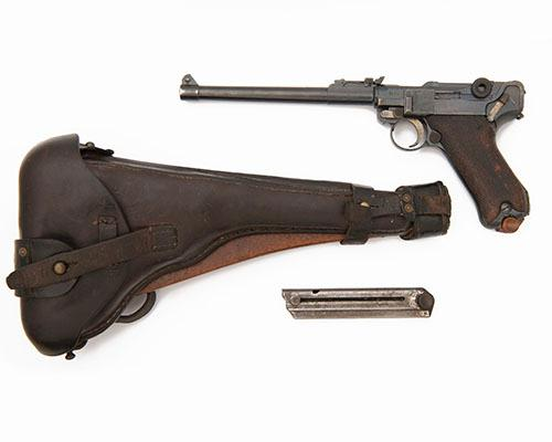 ** DWM, GERMANY A GOOD 9mm (PARA) SEMI-AUTOMATIC SERVICE-PISTOL, MODEL ''ARTILLERY LUGER'', serial no. 3036, WITH STOCK & HOLSTER