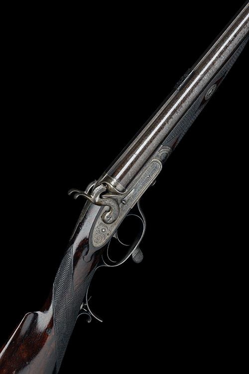SAML. & C. SMITH A .500/.450 (2 1/2IN.) ROTARY-UNDERLEVER DOUBLE-BARRELLED HAMMER RIFLE, CONVERTED BY G.E. LEWIS, serial no. 6622,