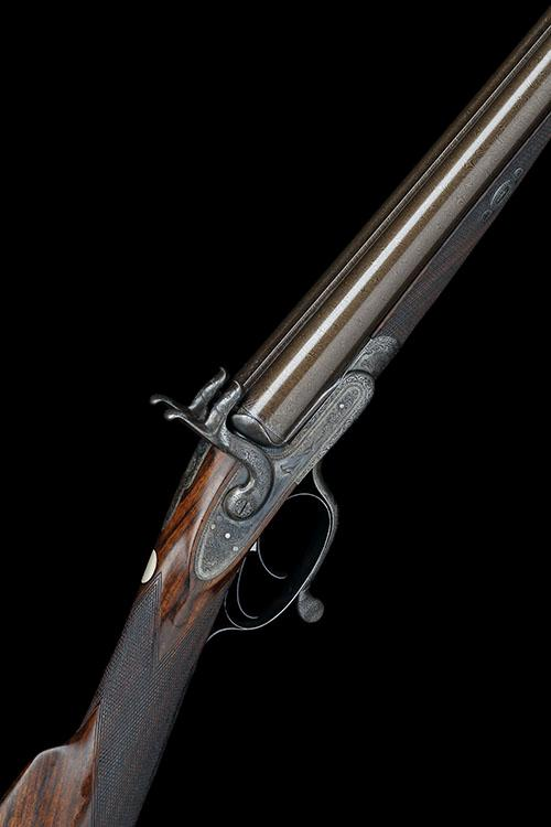 WHITE & THOMPSON, BIRMINGHAM A GOOD CASED 12-BORE PINFIRE DOUBLE-BARRELLED SPORTING-GUN, no visible serial number