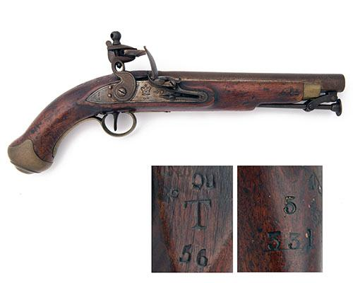 TOWER A .650 FLINTLOCK SERVICE-PISTOL, serial no. 5/331,