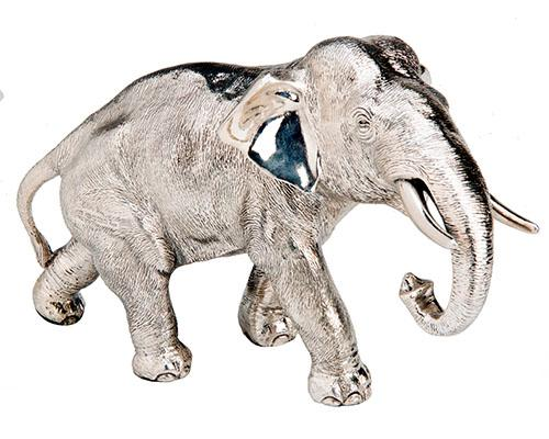 A ELECTROFORMED SOLID SILVER BULL ELEPHANT CENTREPIECE,