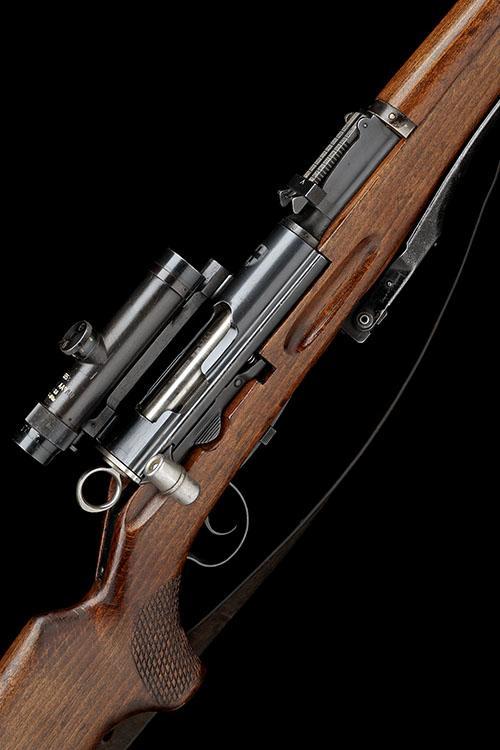 ** A RARE 7.5x55mm STRAIGHT-PULL RIFLE, MODEL ''SCHMIDT RUBIN MOD 55 ZF SNIPER'', serial no. 3353,