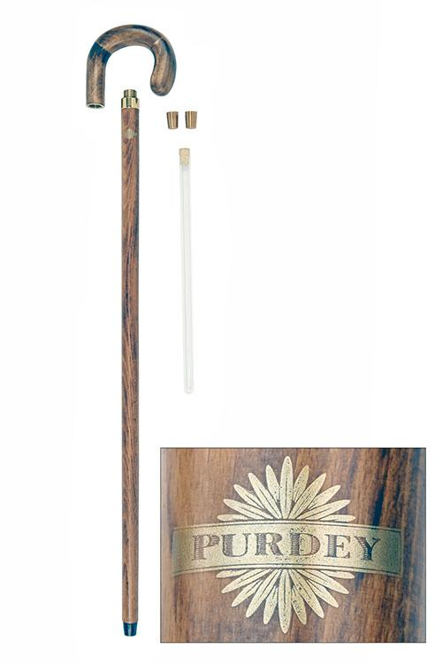 JAMES PURDEY & SONS A BEECHWOOD TIPPLING WALKING CANE,