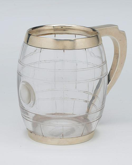 A VICTORIAN STERLING SILVER AND GLASS TANKARD,