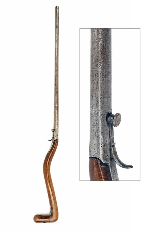 A SCARCE 28-BORE PERCUSSION UNDER-HAMMER WALKING-STICK SHOTGUN, UNSIGNED, no visible serial number,