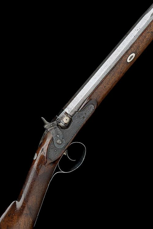 JOHN MANTON, LONDON A CASED 16-BORE PERCUSSION SINGLE-BARRELLED SPORTING-GUN FOR RESTORATION, serial no. 5794,