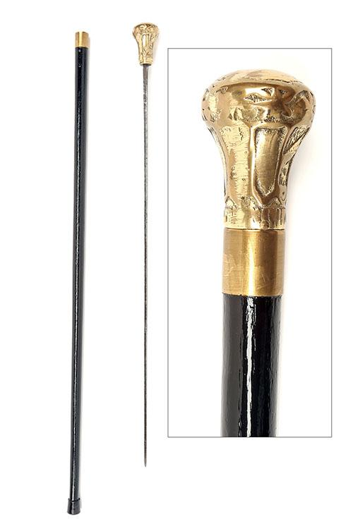 A VICTORIAN BRASS-MOUNTED SWORD-STICK,