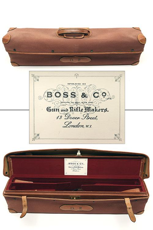 BOSS & CO. A VIRTUALLY UNUSED LEATHER SMALL-BORE DOUBLE MOTORCASE,