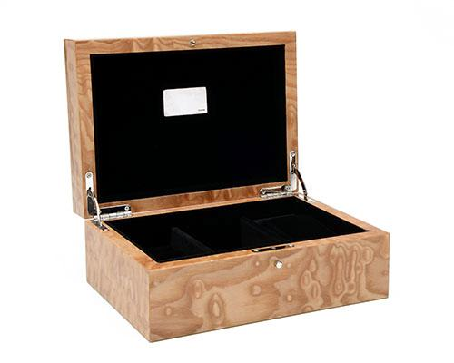 ANTHONY HOLT & SONS A FINE HAND-CRAFTED BENTLEY BURR ELM VALET (JEWELLERY) BOX,