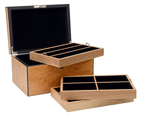 ANTHONY HOLT & SONS A FINE HAND-CRAFTED THREE-TIER BURR ASH AND EBONY JEWELLERY BOX,