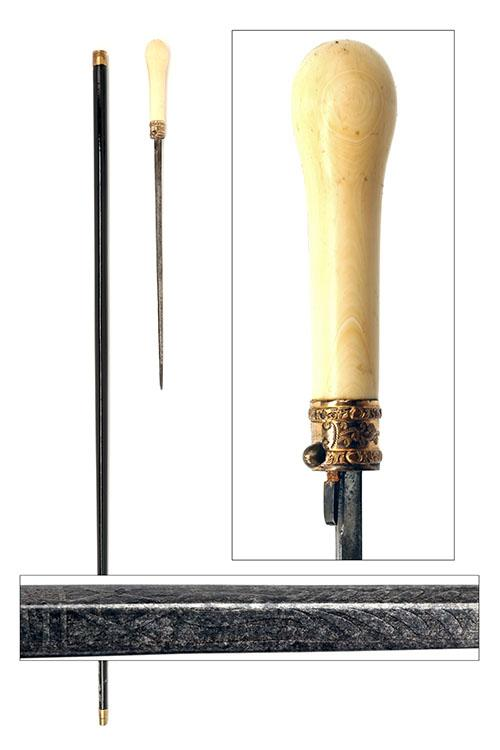 A LATE GEORGIAN GENTLEMANS WALKING CANE WITH CONCEALED DAGGER AND IVORY POMMEL