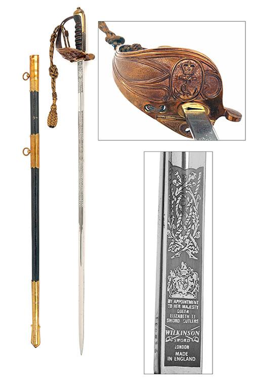 WILKINSON SWORD, LONDON A CURRENT ISSUE 1827 PATTERN BRITISH NAVAL SWORD, serial no. 100436,