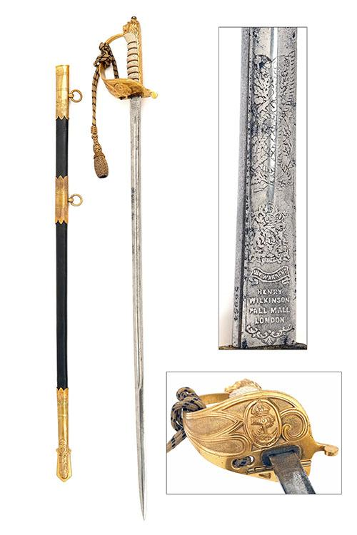 WILKINSON FOR GIEVES LTD, LONDON AN 1827 PATTERN BRITISH NAVAL SWORD, serial no. 56954,
