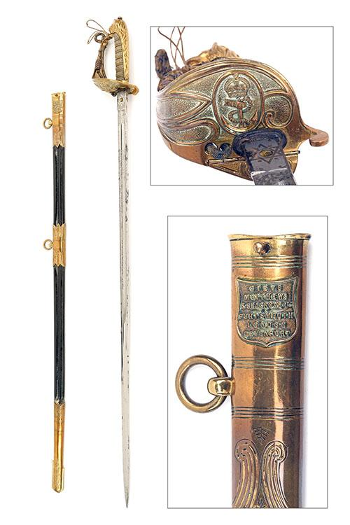 GIEVE, MATTHEWS & SEAGROVE LTD, PORTSMOUTH AN 1827 PATTERN BRITISH NAVAL SWORD, no visible serial number,