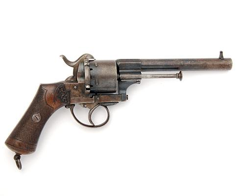 A 10mm PINFIRE SIX-SHOT REVOLVER SIGNED LEFAUCHEUX PATENT, serial no. 145791,