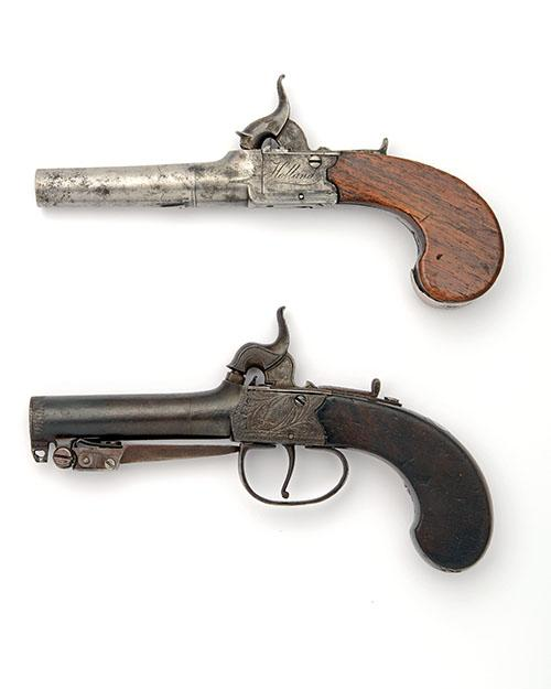 TWO PERCUSSION BOXLOCK TURN-OFF POCKET-PISTOLS, THE FIRST WITH SPRUNG BAYONET