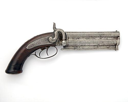 F-H BATES & SON, BIRMINGHAM A 20-BORE PERCUSSION OVER-UNDER OFFICER''S PISTOL, no visible serial number,