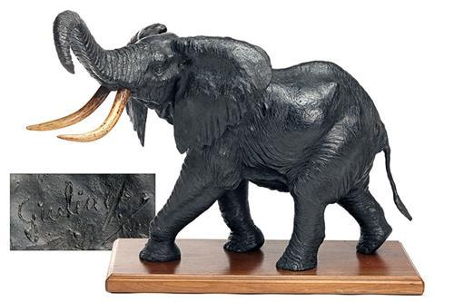 GIANGALEAZZO GIULIANO A FINE BRONZE SCULPTURE OF AN AFRICAN BULL ELEPHANT,