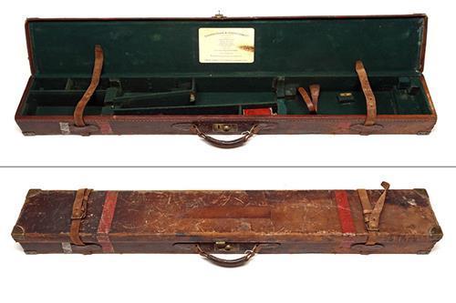 STEPHEN GRANT & JOSEPH LANG A BRASS-CORNERED LEATHER FULL-LENGTH RIFLE CASE,