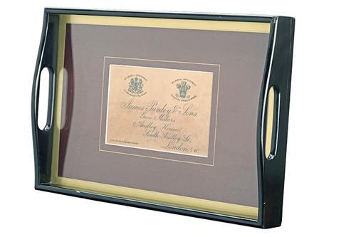 A JAMES PURDEY & SONS GUNCASE ''TRADE LABEL'' DRINKS SERVING TRAY,
