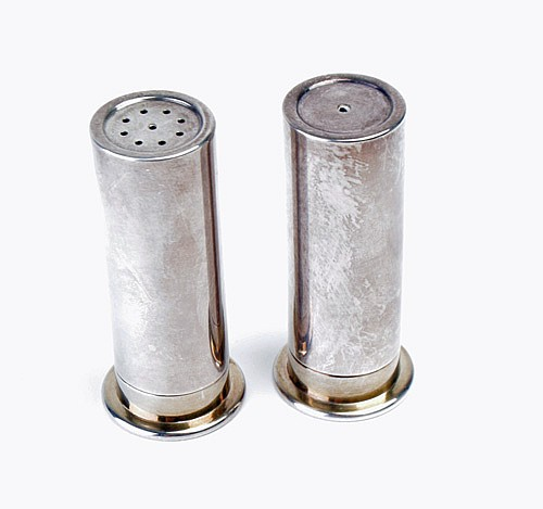 JAMES PURDEY AND SONS A PAIR OF SILVER AND BRASS SALT AND PEPPER SHAKERS IN THE FORM OF 12 BORE CARTRIDGES