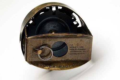 A SCARCE .455 REVOLVER SPEED-LOADER, MODEL 'PRIDEAUX'S PATENT REVOLVER MAGAZINE',