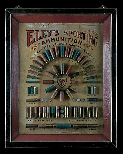 ELEY AN 'ELEY'S SPORTING AMMUNITION' CARTRIDGE DISPLAY BOARD,