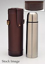 † JAMES PURDEY & SONS A NEW AND UNUSED LEATHER CASED THERMOS FLASK,