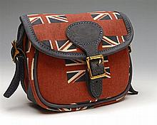 † BRADLEYS A NEW AND UNUSED CANVAS AND LEATHER 'UNION JACK' CARTRIDGE BAG,