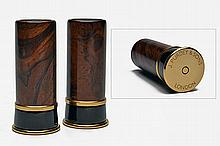 † JAMES PURDEY AND SONS A SET OF NEW AND UNUSED BRASS, WALNUT AND HORN SALT AND PEPPER SHAKERS,