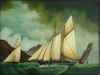Schilderijen ACHTERGLAS SCHILDERING, zeilschepen