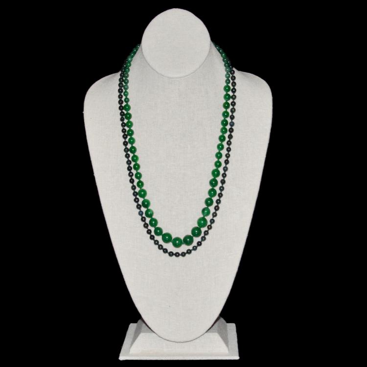 A Jadeite Bead Necklace, A Spinach Green Jade Bead Necklace 翡翠珠链、碧玉珠链