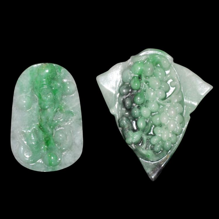 Icy Jadeite Pendant Carved with Bat and Ruyi, Leaf-Shape Pendant Carved with Grapes 冰种翡翠浮雕蝠寿如意、葡萄叶形挂坠