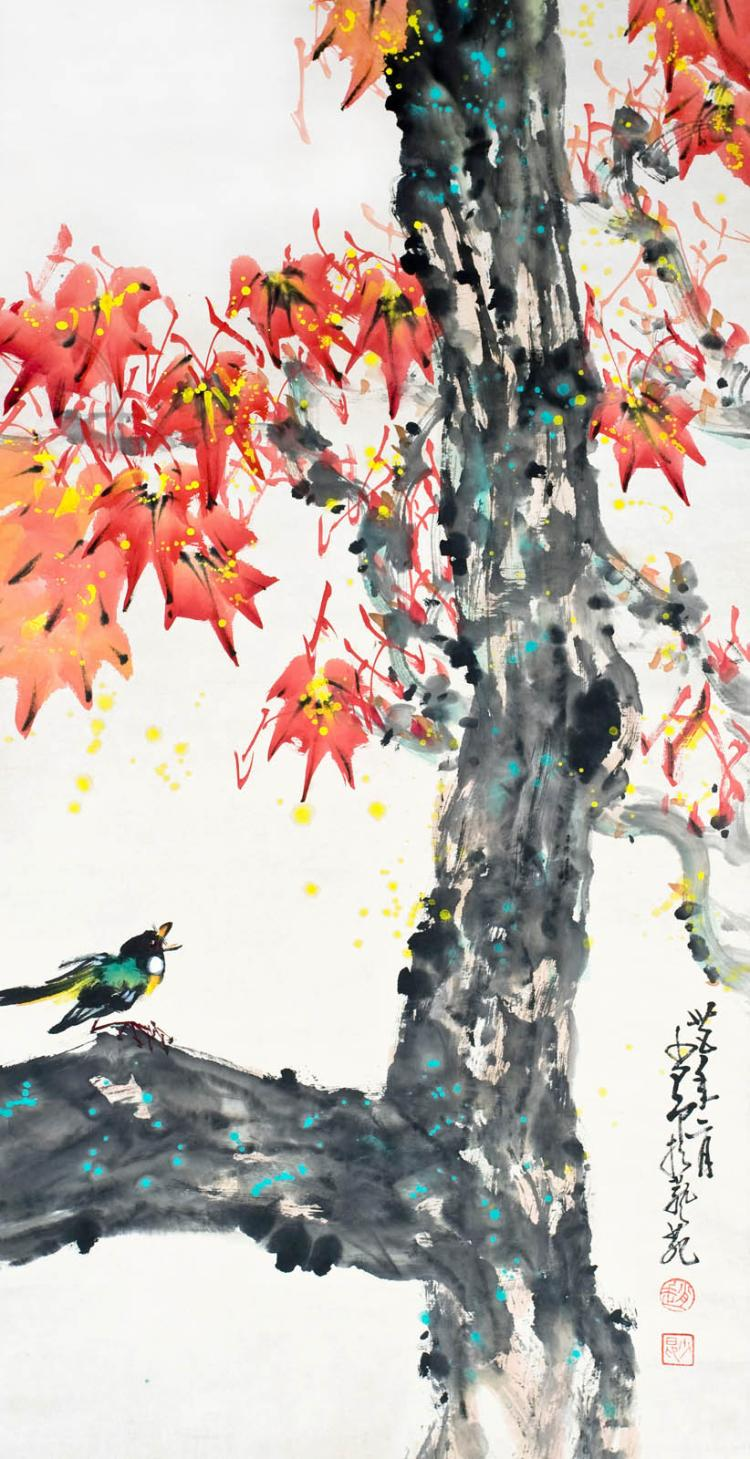 Zhao Shaoang Birds Singing on a Maple Tree 趙少昂 (1905 - 1998) 枫红听鸟啼